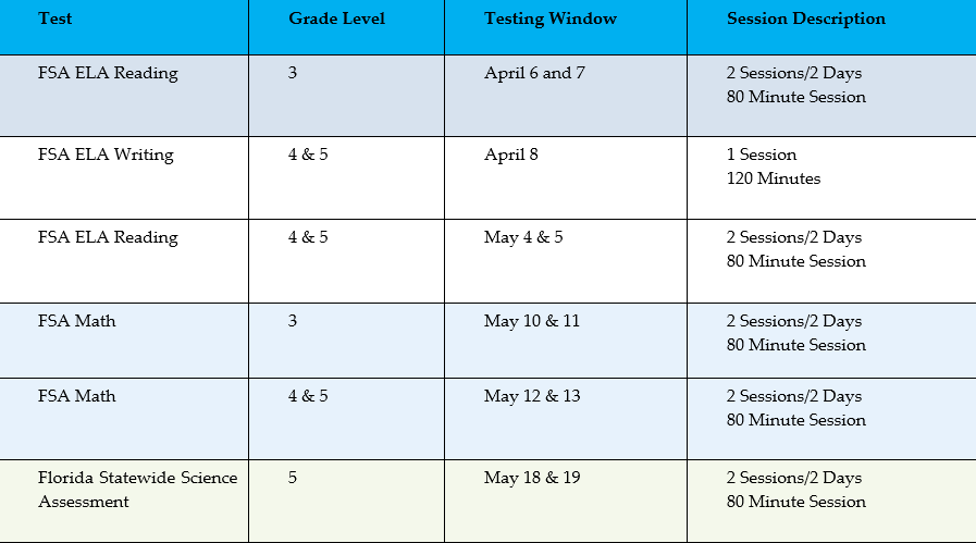 3rd, 4th, and 5th Grade FSA Testing Schedule